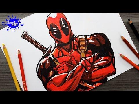 Drawing Deadpool How To Draw Deadpool Como Dibujar A Deadpool Youtube