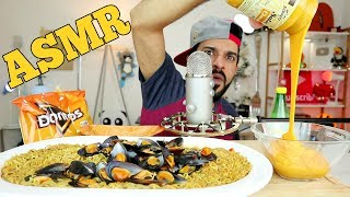 ASMR Eating Sounds - Spicy Seafood Noodle Soup, Mussels + Doritos & Cheese Sauce [NO TALKING]