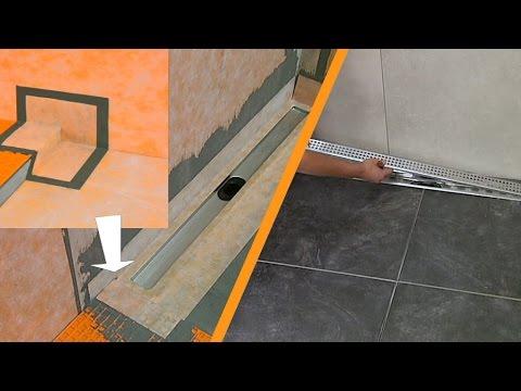 Carrelage d 39 une douche avec caniveau montage le long d for Pose d un caniveau