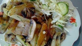 Как пожарить картошку с грибами How pozharit' a potato with mushrooms