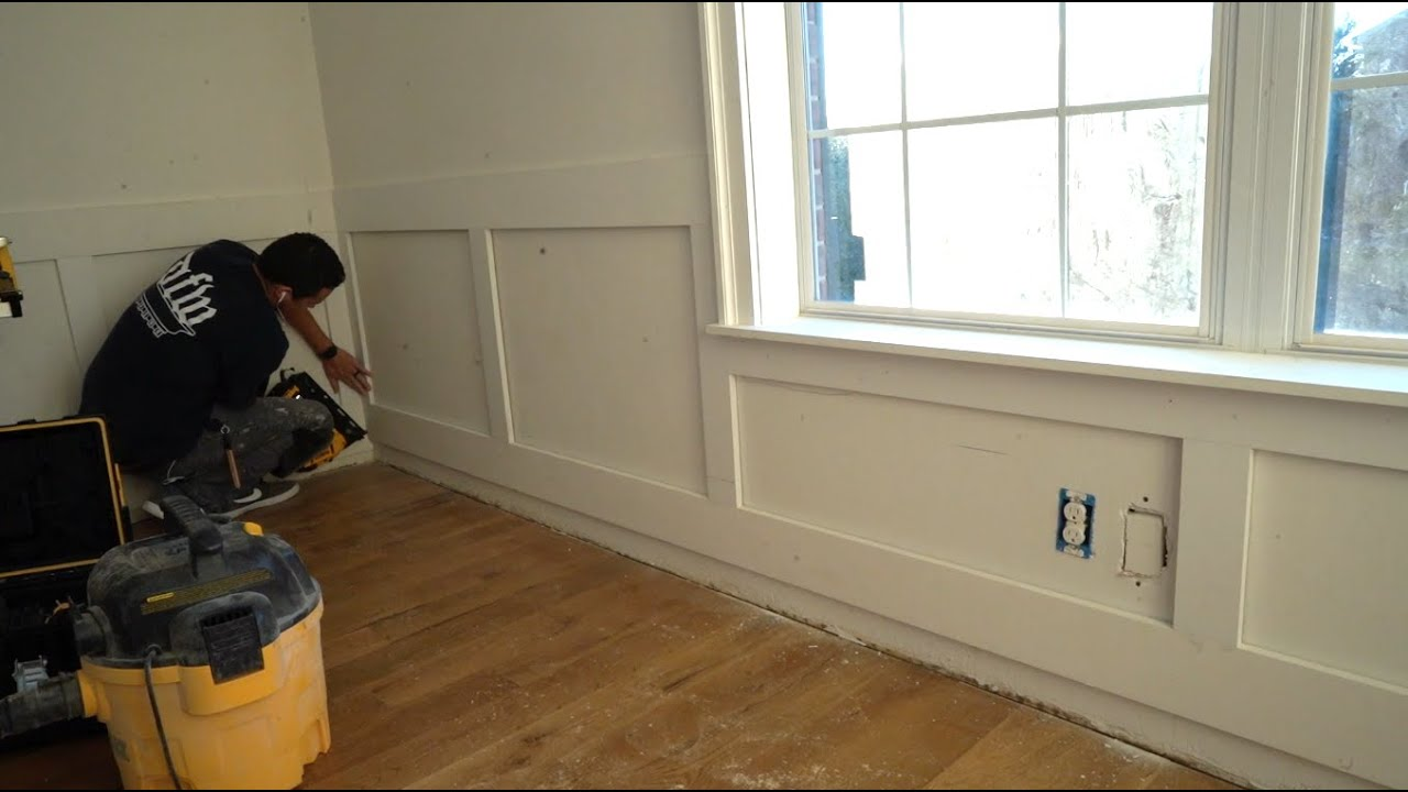 how to install wainscoting around windows