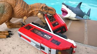T Rex attacks Lego train and the raptors, then comes a megalodon sh...
