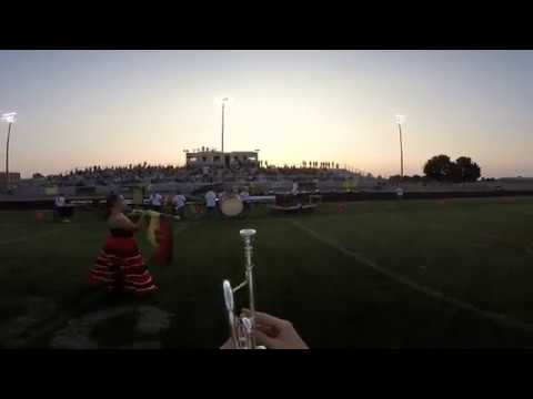 Vallivue High School Marching Corp. Frontline Trumpet SUPERCAM - First Performance - Raw Uncut