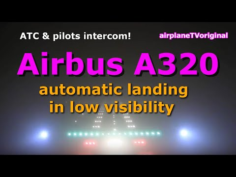 Airbus A320 pilots' view ILS Approach CAT III LOWWVIE in bad weather