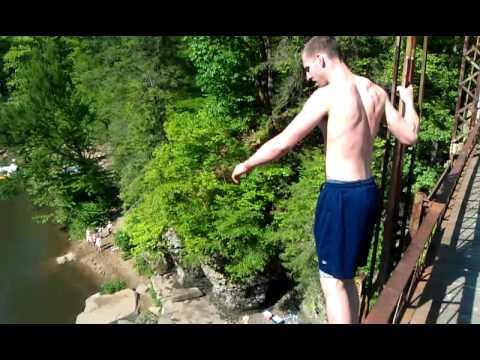 "61ft Cheat River bridge jump in West Virginia   ""BLUE HOLE"""