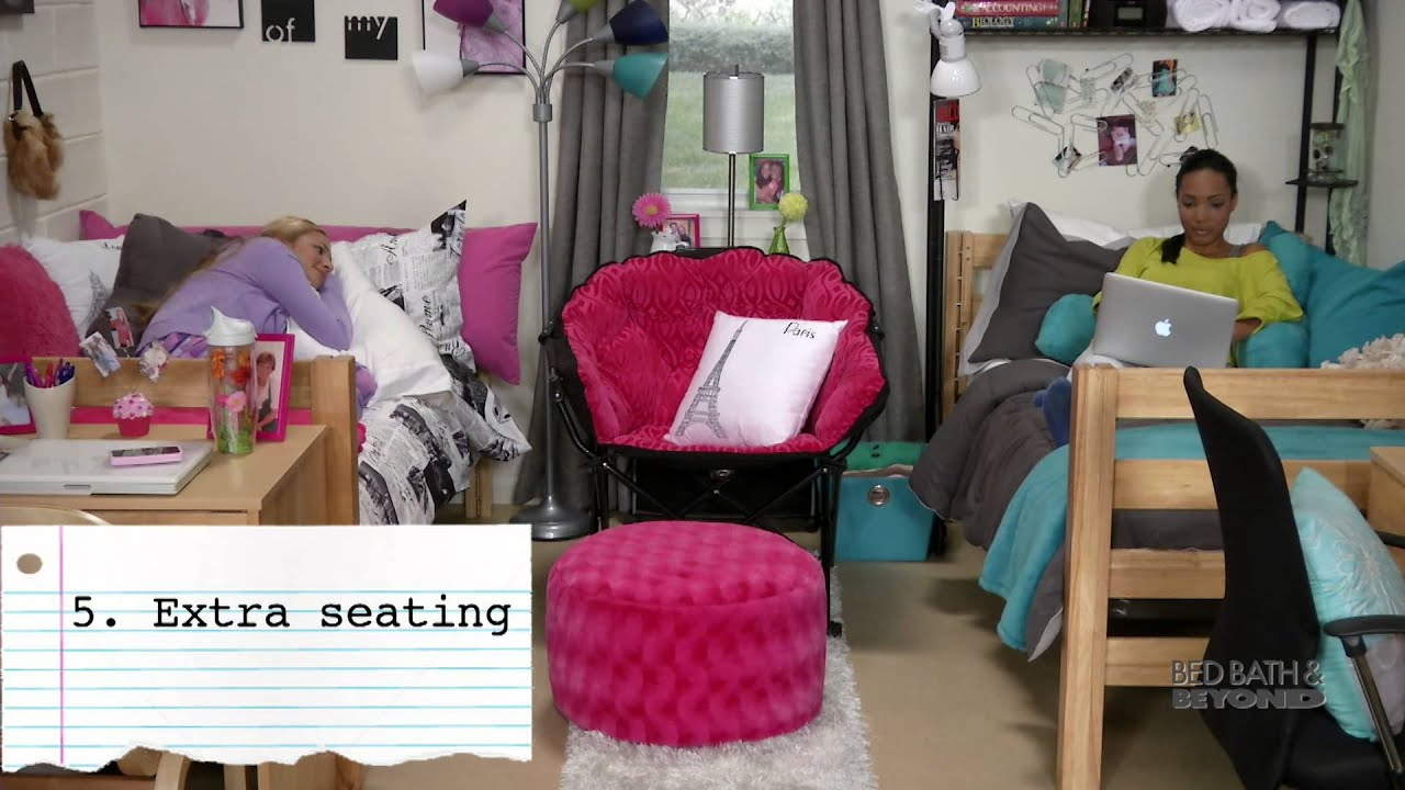 dorm chairs bed bath and beyond black leather chair with ottoman comforts of home at college youtube