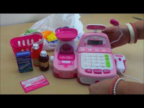 "Best ""Barbie Pink"" Cash Register Till and working Barcode Scanner unboxing #barbie"