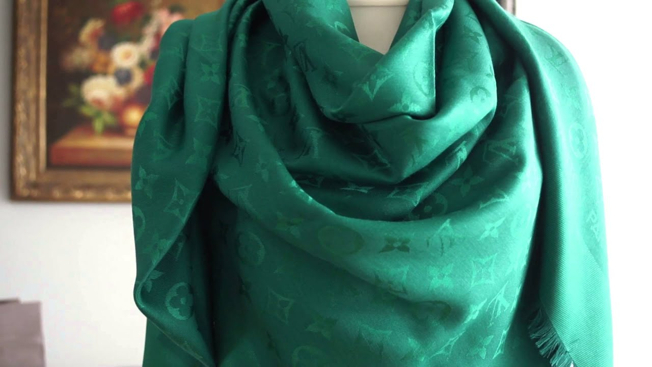 authentic louis vuitton lv monogram scarf shawl review unboxing emerald buy
