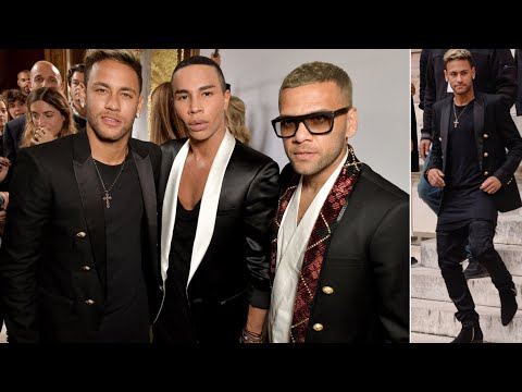 Neymar and Dani Alves attend Balmain show during Paris Fashion Week