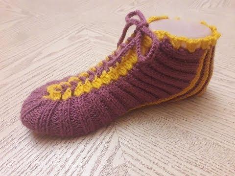 Классные носки следки на двух спицах, одним полотном ,без шва №11.