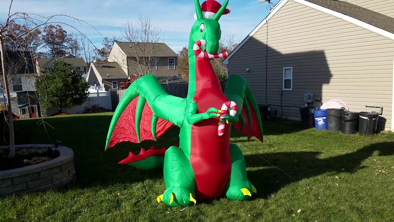 Inflatable Christmas Dragon.Home Accents Holiday Dragon Inflatable