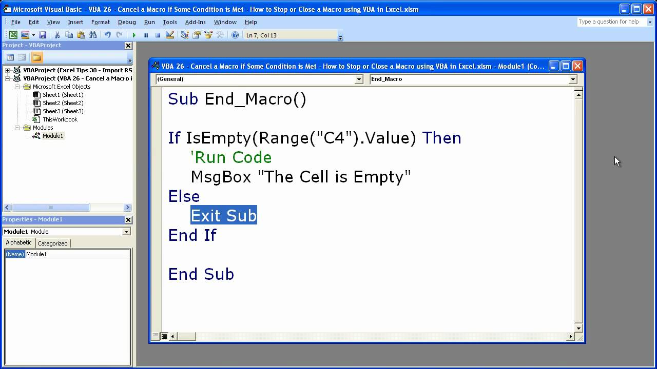 Excel Macro VBA Tip 26 - Stop Cancel or Close a Macro using
