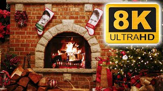 8K Yule Log Fireplace with Crackling Fire Sounds - 8 Hours