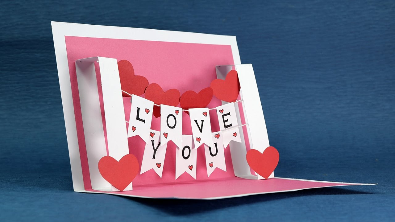 DIY Valentine Card Handmade I Love You Pop Up Card YouTube – Hand Made Valentine Cards