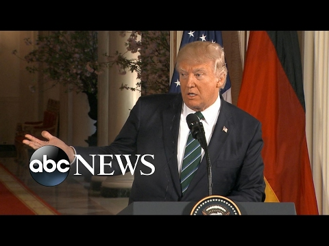 Trump holds firm on wiretapping claim in press conference with German Chancellor Angela Merkel