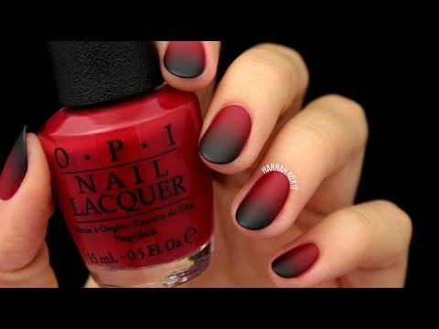 Matte Black & Red Ombre Nails (easy for Halloween!)