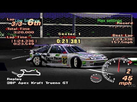 Gran Turismo 2 - Low Settings Vs Max Settings (Graphics Comparison) PS1 Gameplay HD EPSXe