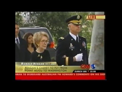 President Ronald Reagan's casket removed from the presidential library, June 9, 2004