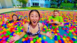 I FILLED HIS POOL WITH BALL PIT BALLS!!