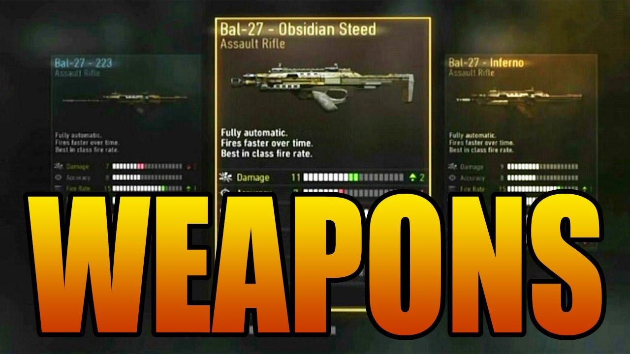 Over 350 guns call of duty advanced warfare multiplayer weapon