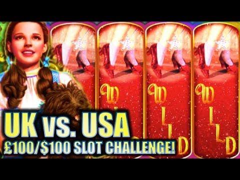 Wizard of Oz Ruby Slippers Slot Challenge UK V's USA - 동영상