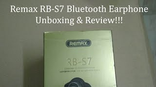 Remax RB-S7 Bluetooth Earphone Unboxing & Review!!!