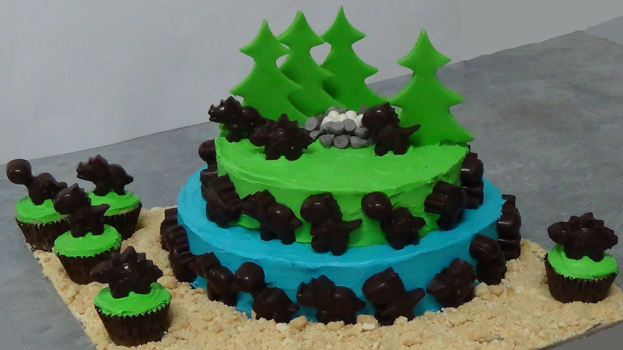 How To Make Dinosaur Cake Youtube