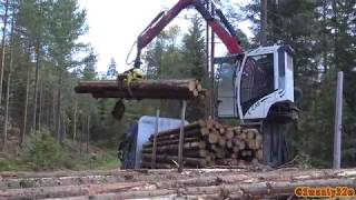 4k  volvo fh16 750 timber truck loading