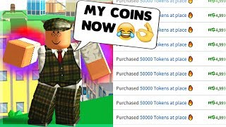 I Spent My ROBUX To Gift Free Coins and He Become Powerful.. | Power Simulator (ROBLOX)