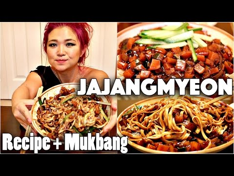 VEGAN JAJANGMYEON (BLACK BEAN NOODLES) RECIPE + MUKBANG