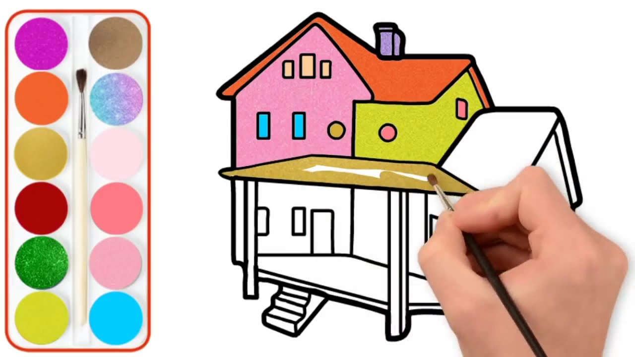House Drawing And Coloring Painting House For Kids Toddlers