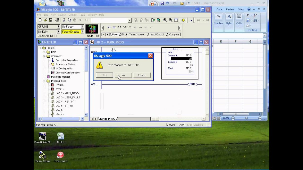 micrologix plc with excel communication