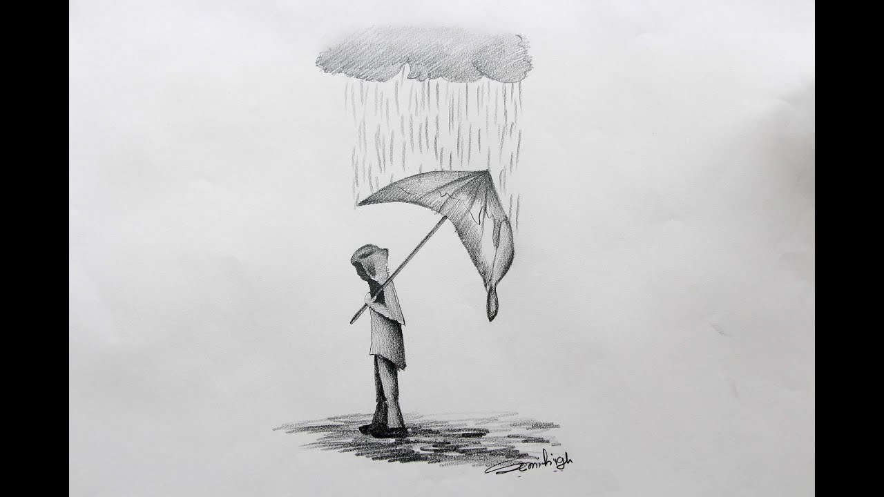 How to draw a rainy day life pencil sketch