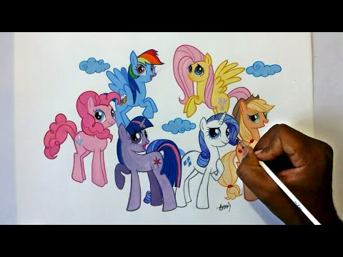 how to draw my little pony friendship is magic -Six ponies Group