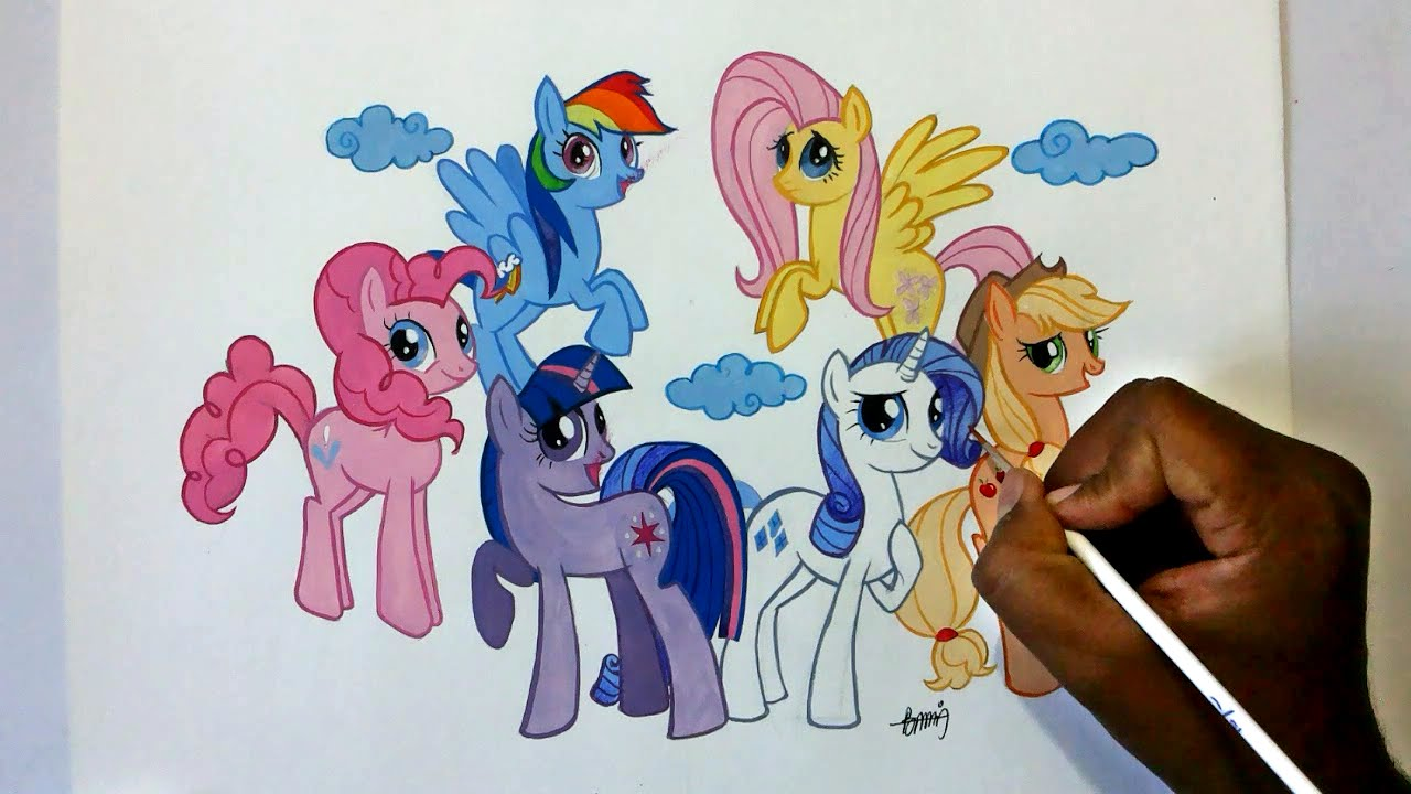 How To Draw My Little Pony Friendship Is Magic Six Ponies Group