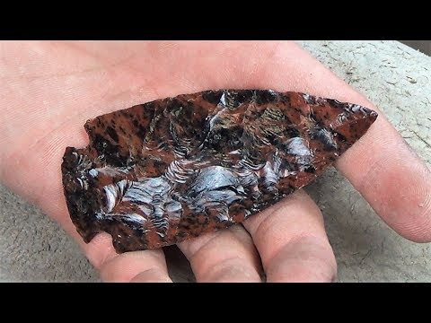 Making A Knapped Stone Spear Head From Mahogany Obsidian