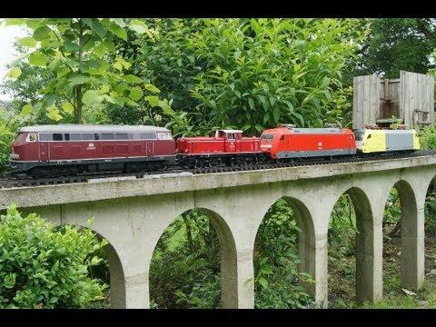 Viadukt- Gartenbahn  Piko BR218 Sound, LGB V52 Schienenreinigung G-Scale Garden Railway Trains