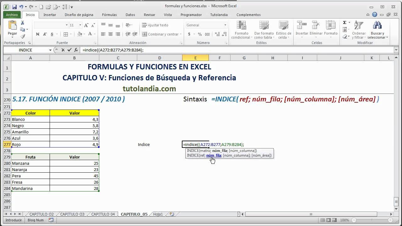 20.20 Función Indice Forma Referencia Fórmulas y Funciones en Excel