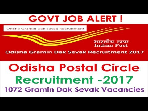 Govt Job Alert Indian Postal Circle Recruitment 2017 Gramin Dak Sevak (GDS) Vacancies- 1072 Odisha