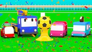 Das Fußballfeld - Lerne mit den kleinen Truck   Planierraupe, Kran, Educational cartoon für Kinder