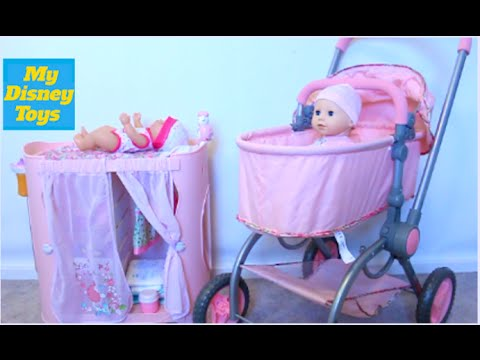 Playing with cute Baby Doll playset for girls Diaper change and doll stroller toy