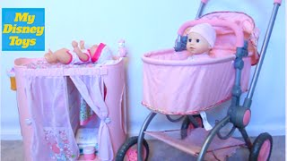 Cute Baby Doll playset  Diaper change and doll stroller Play Toys with My Disney Toys