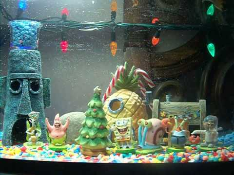 Spongebob christmas aquarium youtube for Spongebob fish tank