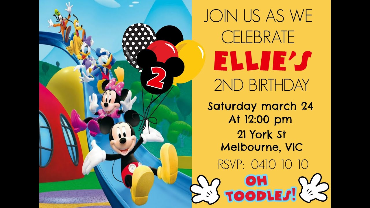 MICKEY MOUSE DIGITAL INVITATION HOW TO MAKE AT HOME DIY ...