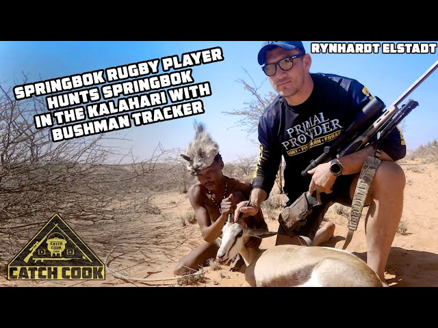 Springbok Rugby Player hunts Springbok with Bushman in Kalahari