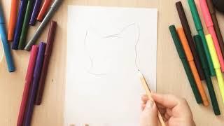 Как нарисовать кошку. Урок рисования для детей. Рисуем вместе. Drawing. Art.