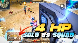 Insane 4 HP Clutch Ranked Solo Vs Squad Gameplay - Garena Free Fire
