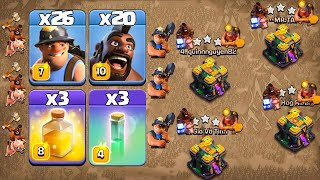 Hog Miner Attack Strategy With Invisibility Spell & Healing !! 26 Miner + 20 Hog - Th14 Attack 2021
