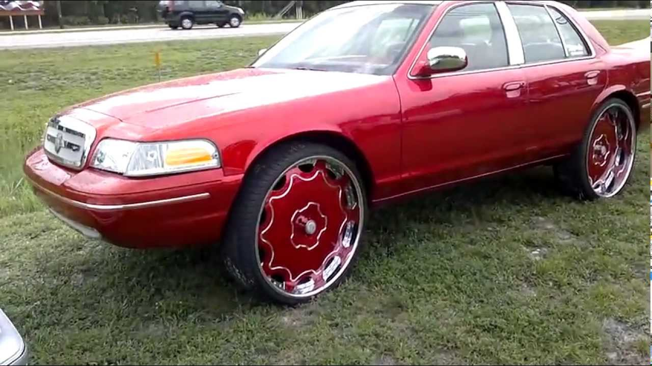 "Ford Crown Victoria Police Interceptor >> Candy Red Ford Crown Victoria on 28"" Forgiatos - YouTube"