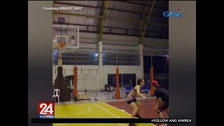 24 Oras: Mikael Daez, nagulat sa special skill ni Megan Young nang mag-one-on-one sila sa basketball
